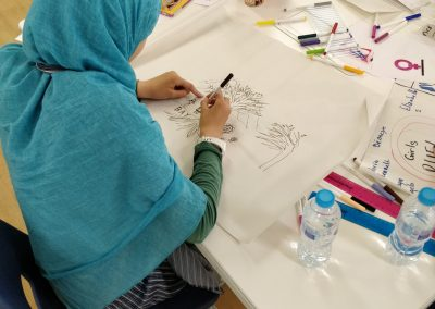 girl wearing blue headscarf at table drawing mural design. table is full of paper, pens, pencils and other art supplies