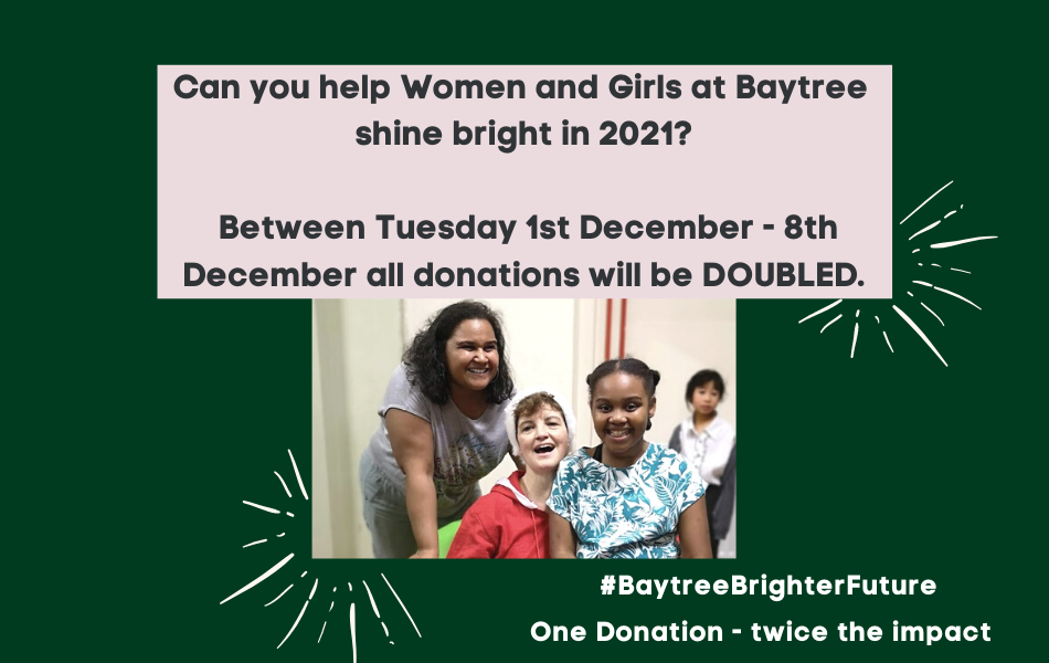 The Christmas Give: From NOW until midday Tuesday 8th December your donations to Baytree will be DOUBLED.